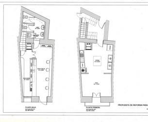 Local comercial de 90 m2 en 2 plantas con bajos abovedados y salida de humos.